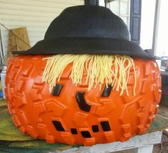 Make a Jack o'Lantern out of used auto tires