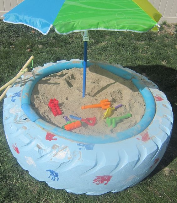 It's time for fun in the sun with this used auto tire sandbox